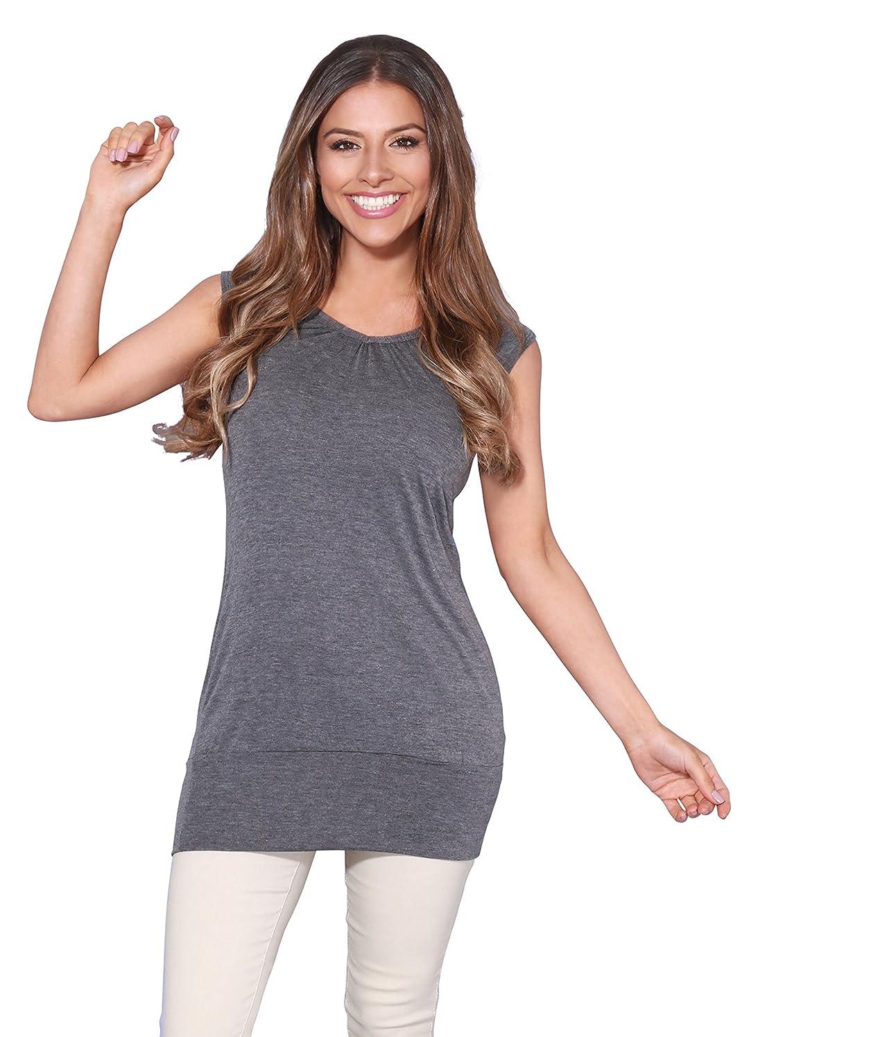 Krisp Womens Solid Dip Dye V Neck Pleated Short Sleeve Top T-Shirt Tunic