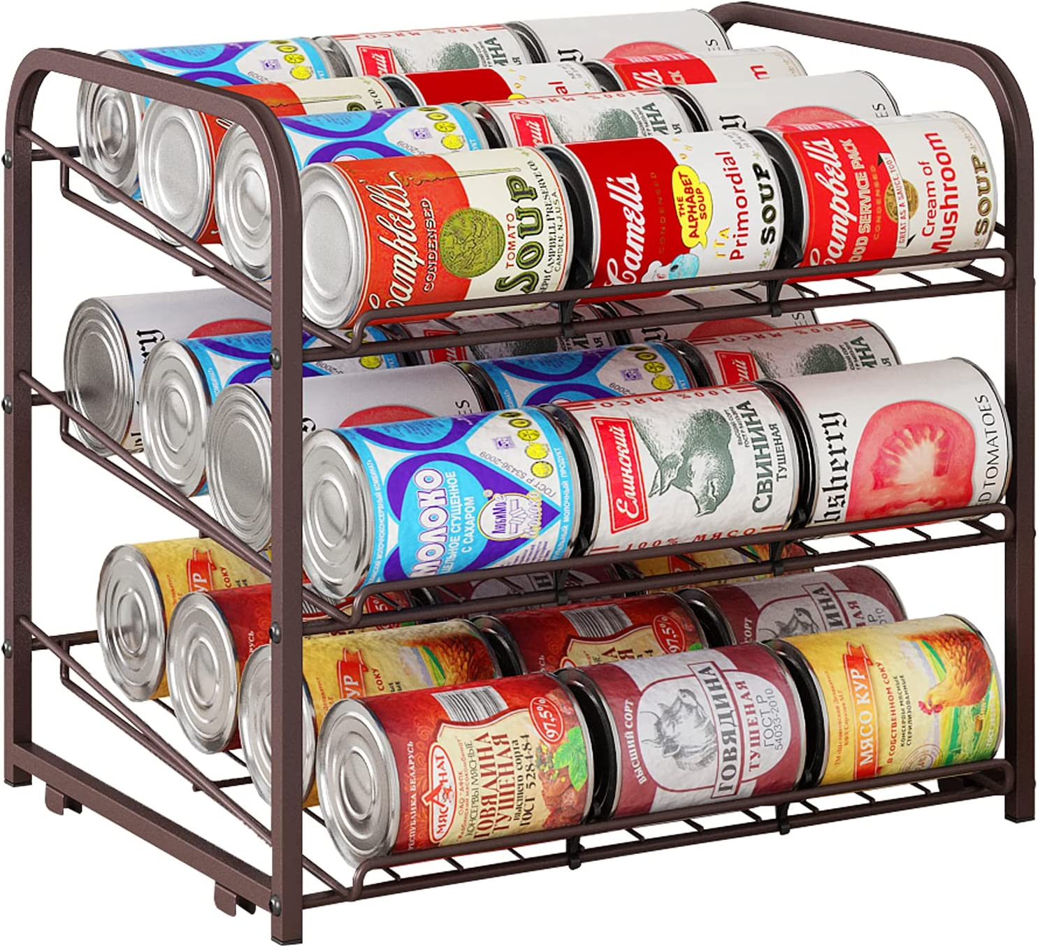 AIYAKA 3 Tier Stackable Can Rack Organizer,for food storage,kitchen cabinets or countertops,Storage for 36 cans,Bronze
