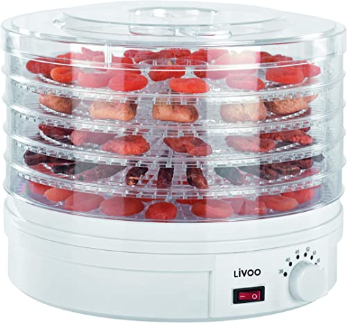 LIVOO DOM202 Aliments | 5 Plateaux | Température Réglable | Déshydrateur Fruits et légumes, 250 W, Blanc