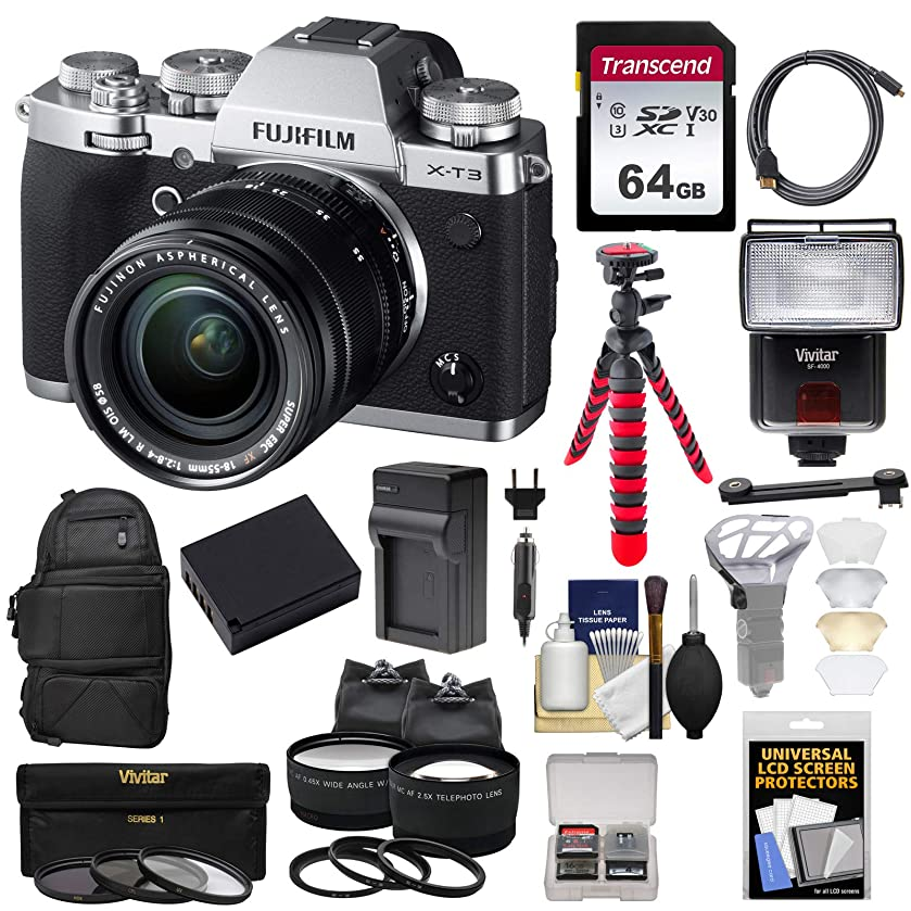 Fujifilm X-T3 4K Wi-Fi Digital Camera & 18-55mm XF Lens (Silver) with 64GB Card + Backpack + Battery & Charger + Tripod + Flash + 2 Lens Kit