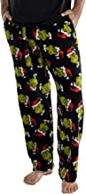 Dr. Seuss Men's The Grinch Sneaky Face Fleece Plush Pajama Pants