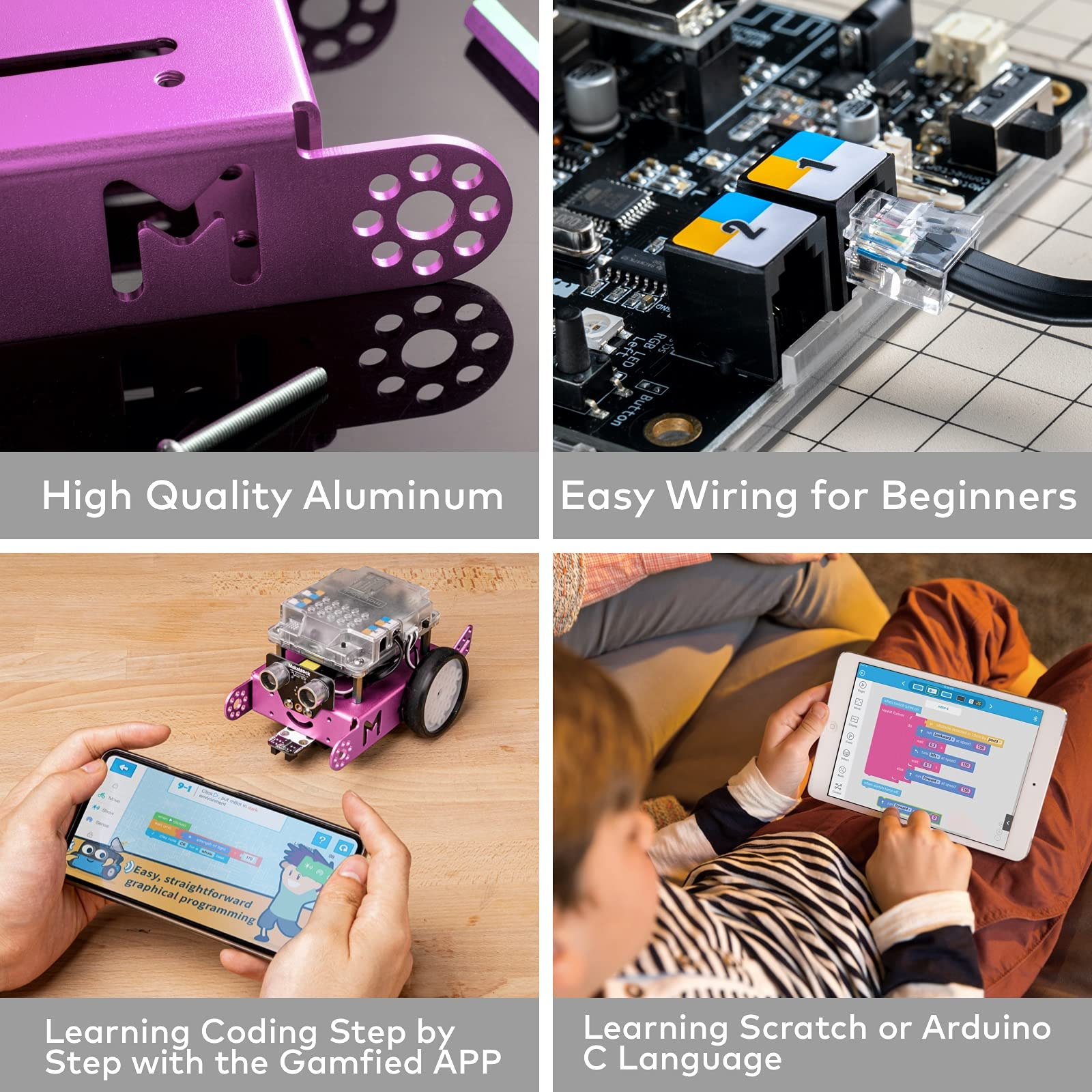 Makeblock mBot Robot Kit for Kids Ages 8+, DIY Mechanical Building Block, STEM Education, Entry-Level Programming Improves Kids' Logical Thinking and Creativity. (Pink, Bluetooth Version, Family)