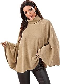 SweatyRocks Women's Casual Long Sleeve Turtleneck Poncho Cape Knit Sweater Jumper