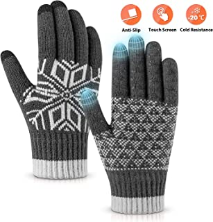 Pvendor Winter Gloves Touch Screen Warm Knit Gloves, Soft Wool Lining Elastic Cuff,..