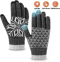 Pvendor Winter Gloves Touch Screen Warm Knit Gloves, Soft Wool Lining Elastic Cuff, Anti-Slip Rubber Design Warm Gloves for Men Women