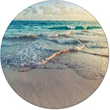 Round Rug Beach Ocean Theme Wavy Ocean Nature Scenery Non-Slip Backing Round Area Rug Living Room Bedroom Study Children P...
