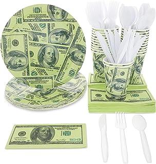 Juvale Blue Panda $ 100 Dollar Money Party Supplies (Sirve 24) Platos, Tazas, servilletas, Cuchillos, cucharas, Tenedores
