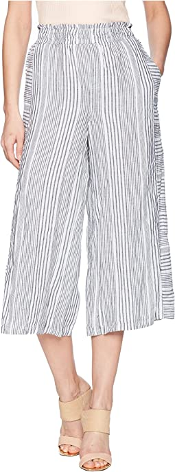 Variegated Stripe Linen Wide Leg Culottes
