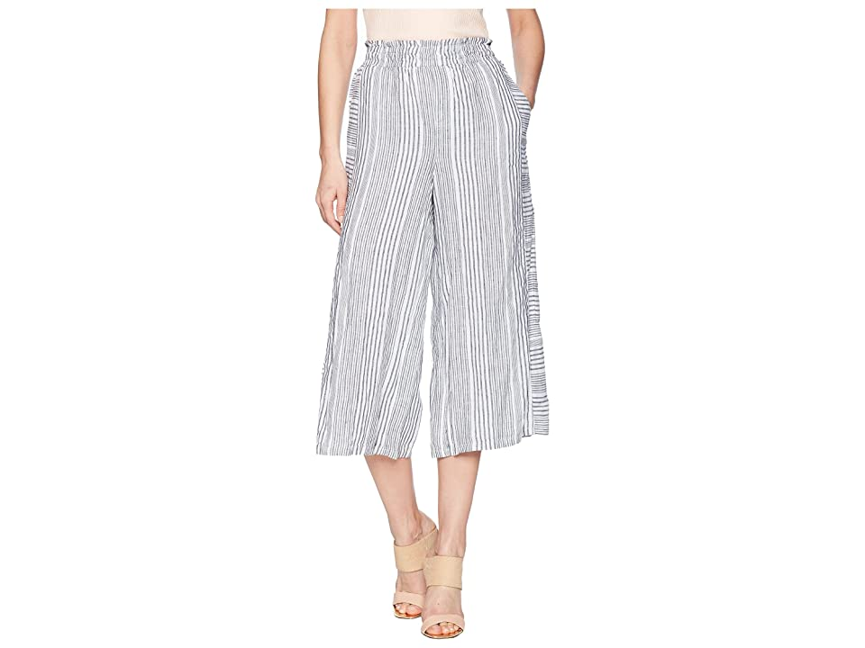 TWO by Vince Camuto Variegated Stripe Linen Wide Leg Culottes (Rich Black) Women