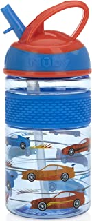Nuby Thirsty Kids Flip-it Freestyle On The Go Water Bottle with Bite Resistant Hard Straw Cup and Easy Grip Band, Blue Cars, 12 Ounce