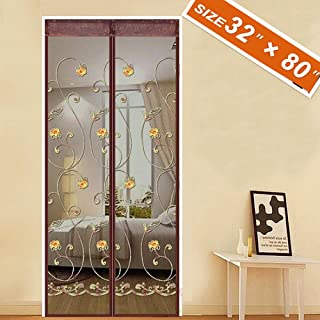 Spritech [Embroider Flower Style] Screen Door,French Door Magnets 32 X 80 Fit Doors Size Up to 30