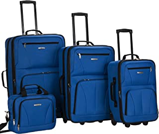 Journey Softside Upright Luggage Set, Blue, 4-Piece...