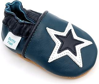 Dotty Fish Chaussures en Cuir Souple pour Les bébés et Les Tout-Petits. Étoiles. Garçons et Filles. 0-6 Mois à 4-5 Ans.