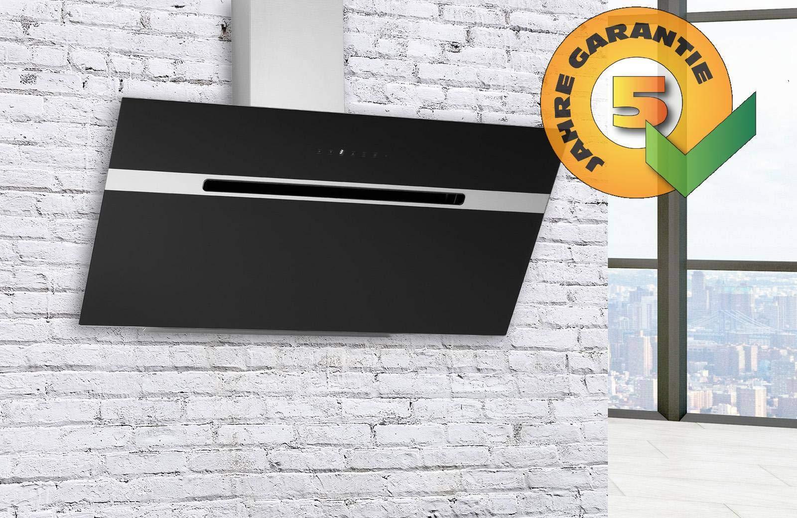 Campana extractora 48 sin cabecera, inclinada, para pared, color negro, 90 cm, 850 m3 + 3 filtros de carbón: Amazon.es: Grandes electrodomésticos