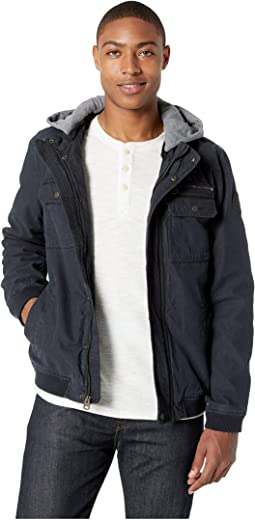 Cotton Bomber Jacket with Jersey Hood