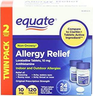 Equate - Allergy Relief, Loratadine 10 mg, 120 Tablets