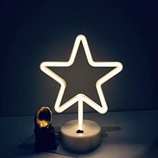 DANIDEER Led Neon Sign Art Decorative Lights Table Decoration Neon Lamp with Base for Kids boy and Girl Bedroom Unique Gift for Any Occasion (Star with Base)