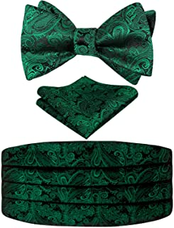 Alizeal Mens Classic Paisley Self-tied Adjustable Bow Tie, Cummerbund and Pocket Square Set