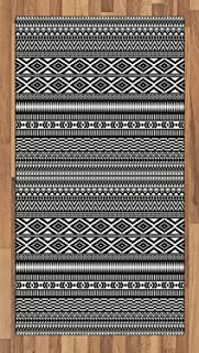 Ambesonne Afghan Area Rug, Traditional Monochrome Herringbone Zigzag Stripes and Rhombuses Tribal Design, Flat Woven Accent Rug for Living Room Bedroom Dining Room, 2.6' x 5', White Black
