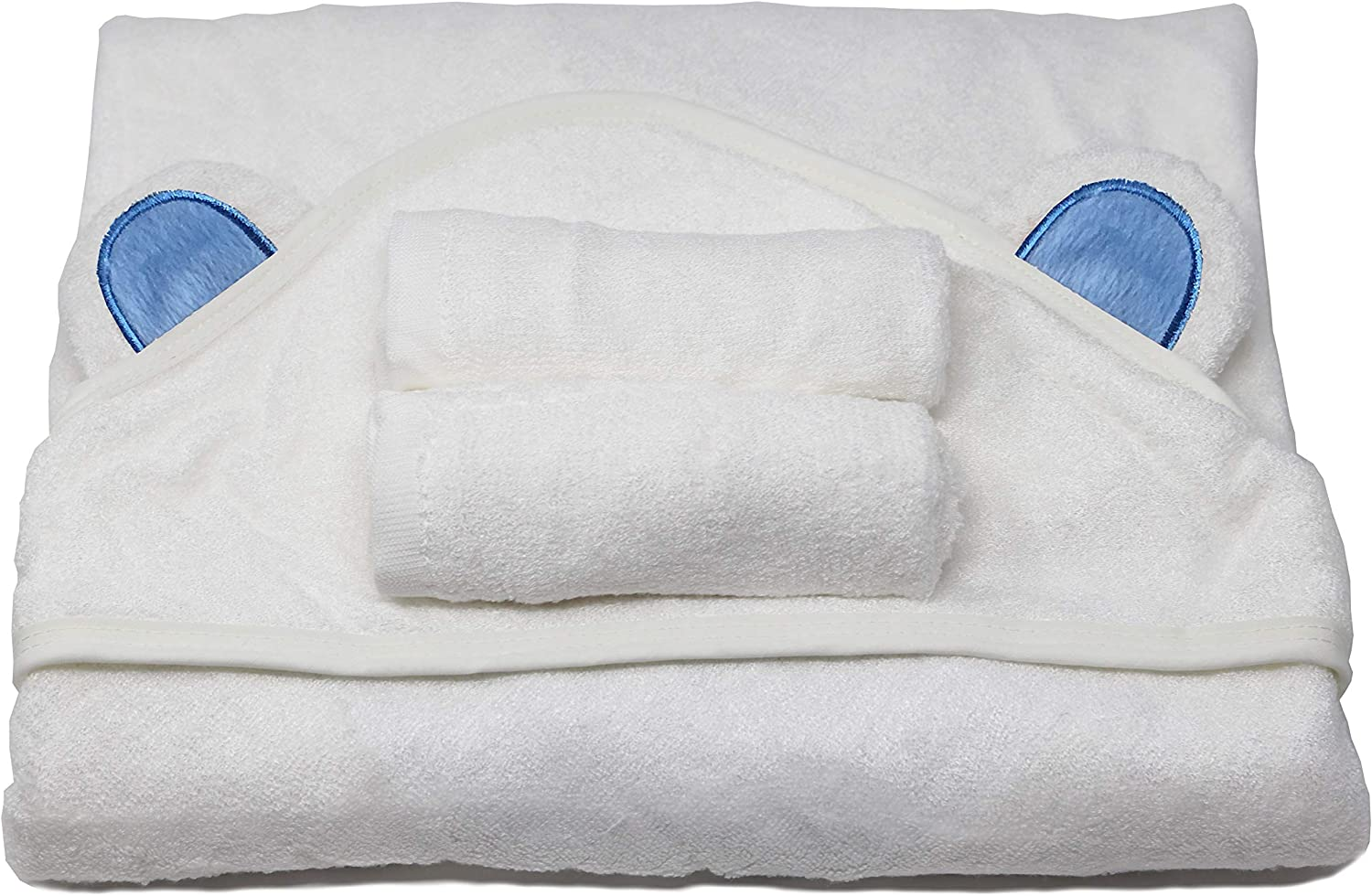 ZENB/ÉB/É Soft Organic Baby Bamboo Hooded Towel with Bear Ears /& 2 Washcloths White, Small A Set of 3 Pieces
