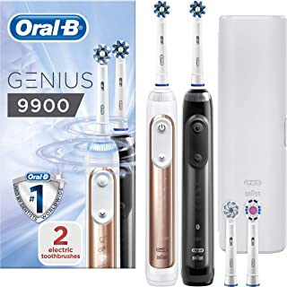 Oral-B Genius 9900 Set of 2 Electric Toothbrushes Rechargeable, 2 Handles, Rose Gold and Black, 6 Modes with Whitening, 4 ...