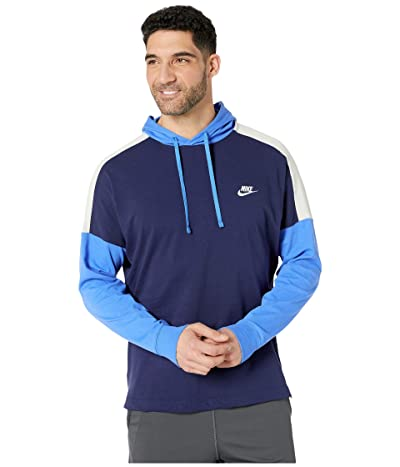 Nike NSW Hoodie Pullover Jersey Color Block (Midnight Navy/Pacific Blue/White) Men