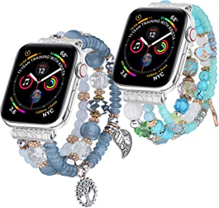 V-MORO Bracelet Compatible with Apple Watch Bands 40mm/38mm Women Fashion Handmade Elastic Stretch Beads Strap Replacement for iWatch Series 4/3/2/1 38mm/40mm Silver 2 Pack
