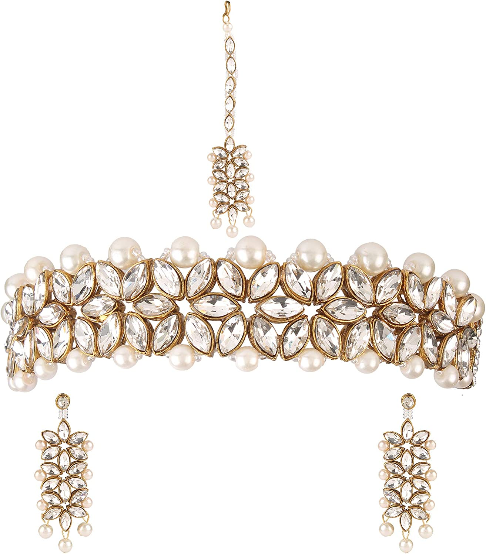 Efulgenz Indian Bollywood Traditional Faux Kundan Pearl Beads Bridal Wear Necklace Earrings Maangtika Wedding Jewelry Set