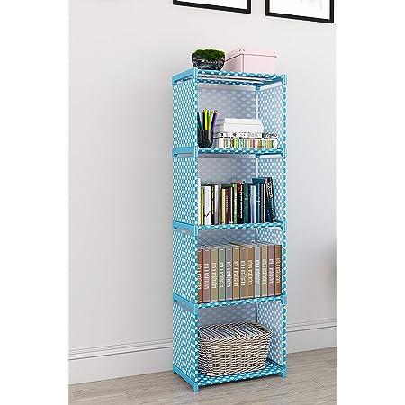 MemeHo® Bookshelf| Storage Shelve for Books Storage Organizer| Children Book Rack| Bookcase for Home Furniture |Cabinet Shelves for Bedroom Office Living Room (4 Cases, Blue)