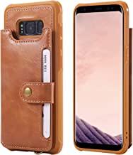 Samsung Galaxy S8 Wallet Case,Card Cash Holder PU Leather Hand Strap Magnetic Snap Protective Cover Durable Shell Kickstand Soft Men Women Brown