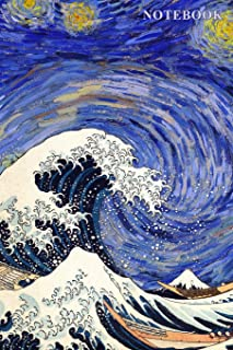 Notebook: Van Gogh Starry Night and Hokusai The Great Wave Journal - 100 6
