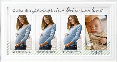 """إطار صورة أبيض زجاجي مطبوع عليه """"Our Family is Grow ing"""" من شركة مالدن إنترناشيونال ديزاينز، 4 خيارات، 4-4x6، أبيض"""