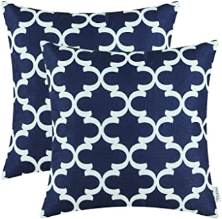 Pack of 2 CaliTime Soft Canvas Throw Pillow Covers Cases for Couch Sofa Home Decor Modern Quatrefoil Accent Geometric 18 X...