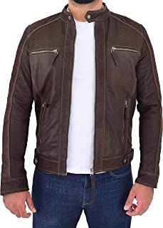 Mens Real Leather Biker Jacket Classic Zip Fastening Cafe Racer Style Ethan Brown