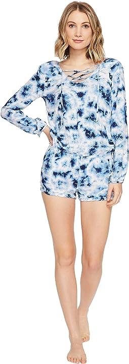 Blue Batik Tie-Dye Romper