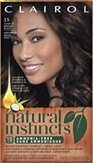 Clairol Natural Instincts Ammonia-Free Hair Color Kit, 3.5 Brown Black (1 Application)