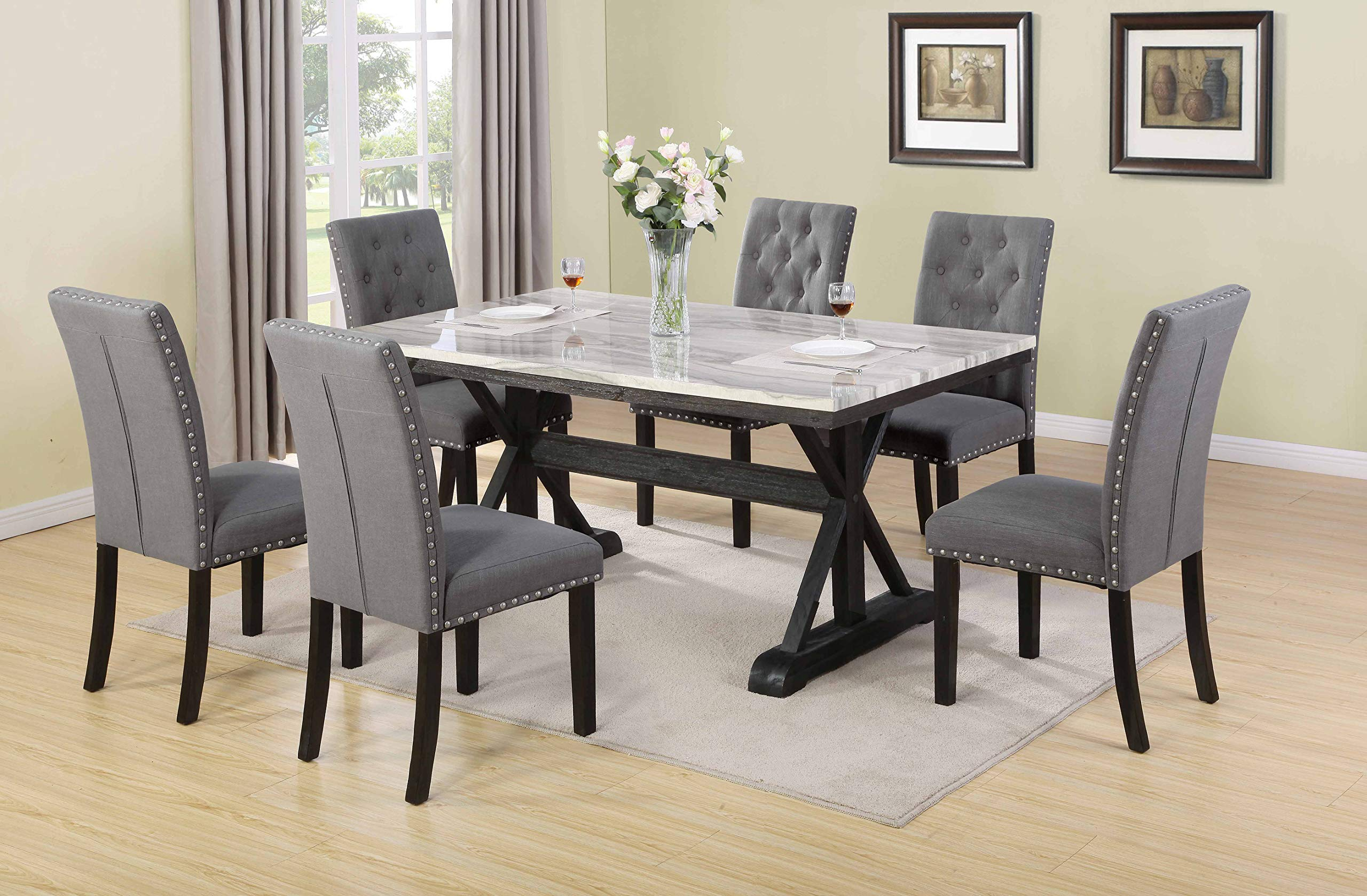 Best Quality Furniture 9PC Dining Set 9 Table + 9 Chairs Gray