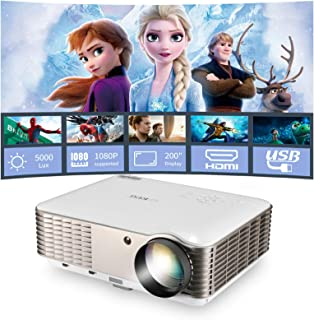 """Multimedia Home Theater LCD Projector, 4600 Lumen Support Full HD 1080P 200"""" Display LED Video Projector with HDMI, USB, V..."""