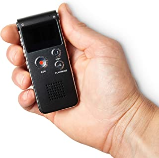 Mini Audio Voice Recorder, Mini Dictaphone With Playback - 8GB Memory MP3 Player, FM Radio, E-Book, Pedometer - Voice Activated, Rechargeable Battery, 3.5mm Stereo Sock