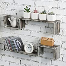 MyGift 23-Inch Rustic Torched Wood Wall Mounted Decorative S-Shaped Floating Display Storage Shelves, Set of 2