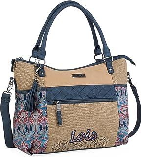 9cae51f2 Lois - Bolso Grande Tipo Shopping de Mujer. 2 Asas Largas y Bandolera. Lona