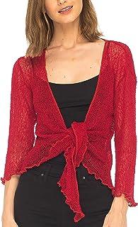 SHU-SHI Women's Sheer Shrug Tie Top Cardigan Lightweight Knit