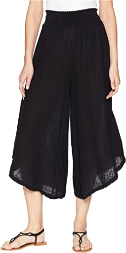 Double Gauze Cropped Wide Leg Pants