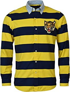 Men's Yale Yellow/Navy Stripe Tiger Patch L/S Classic FIT Button Down Oxford