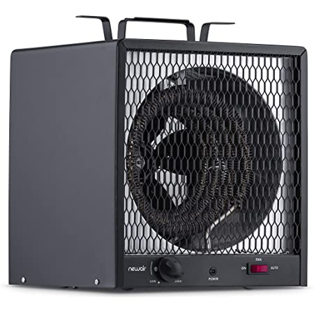 NewAir Portable Garage Heater, Electric Infared Fast Heat for up to 800 sq ft, 240V 30 amp 5600 Watt, G56, Black, Hardwired