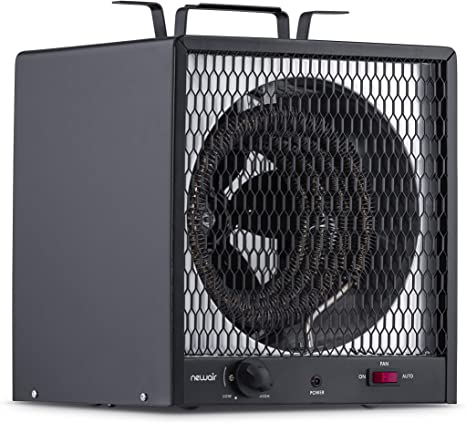 NewAir Portable Garage Heater, Electric Infared Fast Heat for up to 800 sq ft, 240V 30 amp 5600 Watt, G56, Black, Hardwired: image