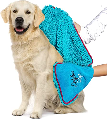 Dolphin & Dog - Dog Towel - Super Absorbent - Dog Microfiber Towel, Towels for Dogs - with Hand Pockets - Perfect for...