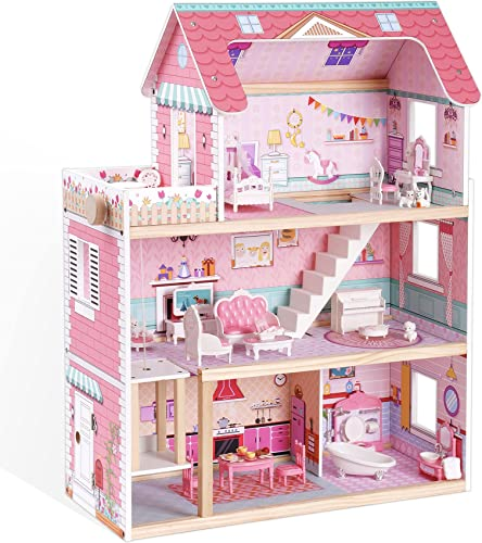 lowest ROBUD Wooden Dollhouse with Elevator 3-Storey Balcony Dream high quality House Toy Dollhouse wholesale for Kids Girls outlet sale