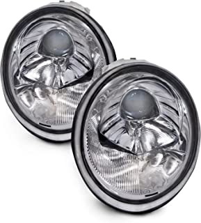 PERDE Chrome Housing Halogen Performance Lens Headlights Compatible with Volkswagen Beetle 1998-2005 Includes Left Driver and Right Passenger Side Headlamps