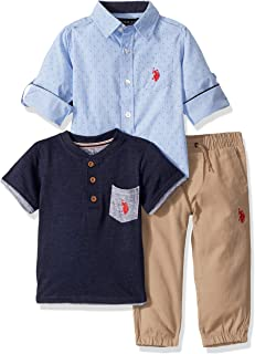 Boys' Long Sleeve Woven, Henley T-Shirt, and Jogger Set